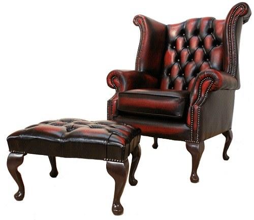 krzesło i podnóżek chesterfield