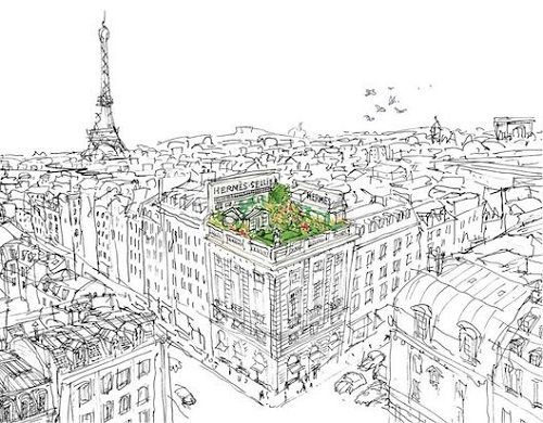 reklama Hermes - Un Jardin Sur Le Toit